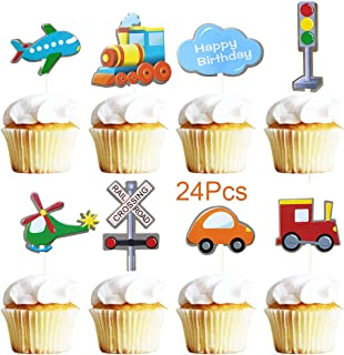 Sunsor 24Pcs Traffic Tools Themed Transportation Happy Birthday Cupcake Toppers Airplane Train Car Smash Cake Picks Treats for Birthday and Baby Birthday Party Decorations