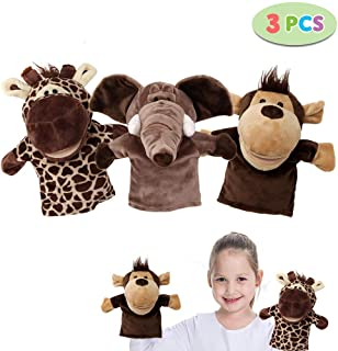 Shock 3-Piece Plush Hand Puppets for Kids Soft Animal Hand Puppets Set with Working Mouth - Perfect for Imaginative Play, Storytelling, Teaching, Preschool