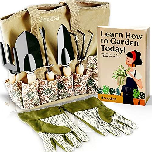 Scuddles Garden Tools Set - 8 Piece Heavy Duty Gardening Kit with Storage Organizer, Ergonomic Hand Digging Weeder Rake Shovel Trowel Sprayer Gloves Gift for Men Or Women
