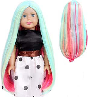H&B WIG Green and Red 18 Inches AG Doll Wigs Long Straight Middle Part Rainbow Wig for Girl Gifts