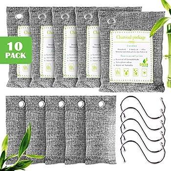 Furuix, 10 sacs de purification d'air au charbon de bambou, sacs de charbon actif, assainisseur de chaussures, éliminateurs d'odeurs ménagères (animaux domestiques), (5 x200g, 5 x75g, 5 crochets)