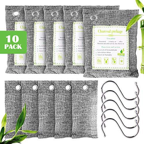 Furuix, 10 bolsas purificadoras de aire de carbón de bambú, bolsas de carbón activado, ambientador de zapatos, eliminadores de olores domésticos (mascotas), (5 x200g, 5 x75g, 5 ganchos)
