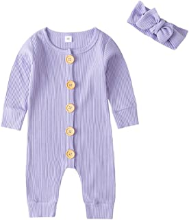 Newborn Baby Girl Jumpsuit Long Sleeve Knitted Button Romper Solid Bodysuit +Headband Clothes Outfits