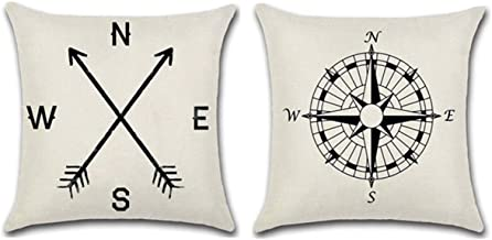 WOLUNWO Throw Pillow Covers 18 x 18 Square Set of 2 Compass Series Couch Decorative Pillow Cases Cotton Linen for Car Sofa Bedroom and Home