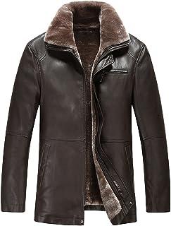 معطف TEERFU رجالي شتوي دافئ من جلد الخراف الصناعي معطف مبطن بالصوف