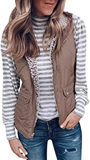 YARUI 2020 Spring Fall Quilted Lightweight Casual Outerwear Vests for Women