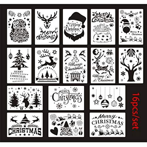 JIACUO 16pcs / Set Plantillas de Dibujo de Navidad Papá Noel Plantillas de Renos de árbol de Navidad