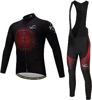 Cycearth Cycling Jersey Long Sleeve Set Men Winter Fleece Thermal Jackets Black Bib Pant