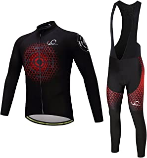 Cycearth Cycling Jersey Long Sleeve Set Men Winter Fleece Thermal Jackets Black Bib Pant