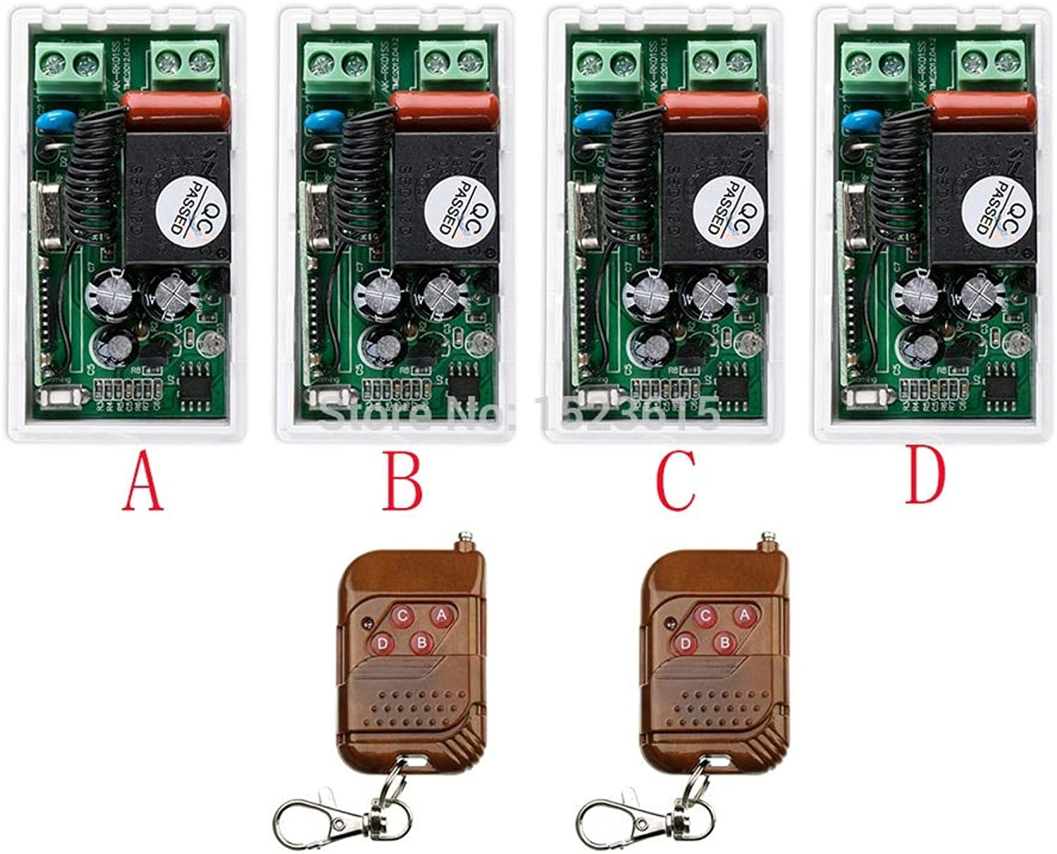 Most Simple Wiring New AC220V 1CH 10A Wireless RF Remote Control Switch 2Transmitter+ 4Receiver for Access Door System