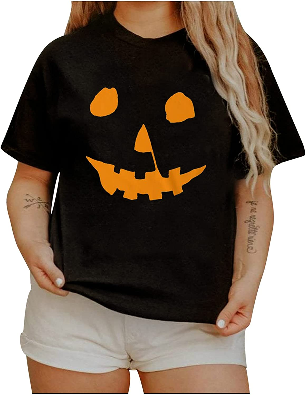 Women's Halloween Terror Pumpkin Shirts Short Sleeve Funny Printing Round Neck Casual Loose Shirts Graphic Tee
