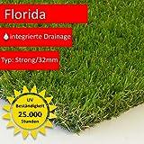 Steffensmeier Kunstrasen Rasen Teppich Florida   für Garten und Balkon   wasserdurchlässig mit UV-Garantie   in Grün, Größe: 100x100 cm