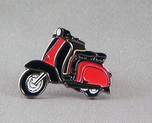 Broche de metal esmaltado, diseño de scooter Lambretta, color rojo y negro