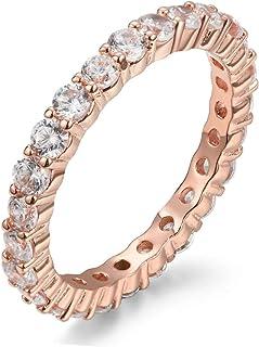 NYC 纯银 2.50mm 玫瑰金纯银 925 立方氧化锆永恒订婚结婚戒指