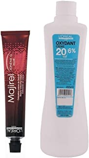 L'Oreal Majirel No. 3 Dark Brown With Oxydant Creme 20 Vol 6% Developer (Set Of 2) With Mixing Bowl & Brush