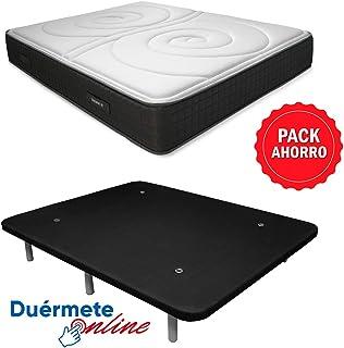 Duérmete Online Pack Ahorro Cama Completa Colchón Viscoelástico Visco Duo Reversible + Base tapizada 3D Reforzada, 5 Barras de Refuerzo y válvulas de ventilación con 6 Patas, Negro, 90x190