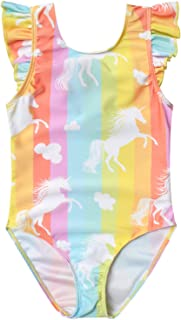 Jxstar Swimsuits for Girls Unicorn Bathing Suits Flutter Sleeve One Piece Clothes