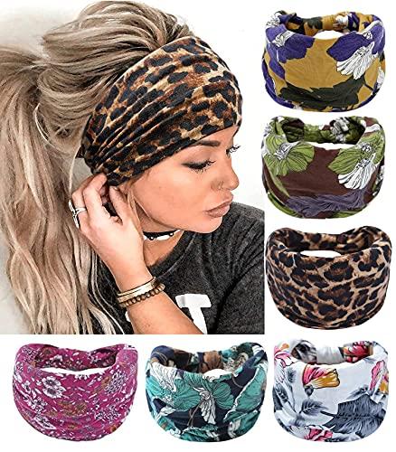 6 piezas Boho Bandeau Diademas de nudo ancho Pañuelo para el cabello con estampado floral Banda para el cabello Accesorios para el cabello de moda para mujeres y niñas