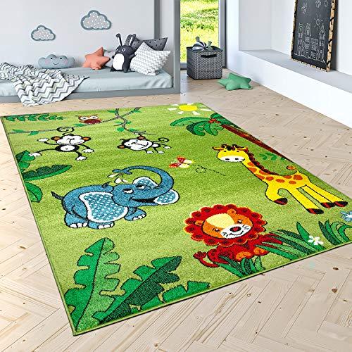 Paco Home Tappeto per Bambini Pelo Corto Giungla con Animali Verde, Dimensione:80x150 cm