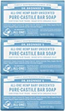 Dr. Bronner's - Pure-Castile Bar Soap (Baby Unscented, 5 ounce, 3-pack) - Made with Organic Oils, For Face, Body, Hair, Gentle for Sensitive Skin, Babies, No Added Fragrance, Biodegradable, Vegan
