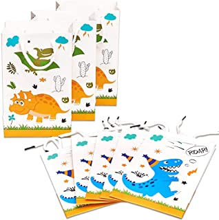 WERNNSAI Dinosaur Gift Bag – 16 Pack Paper Party Bags for Kids Boys Birthday Baby Shower Party Supplies Favor Treat Goodie...