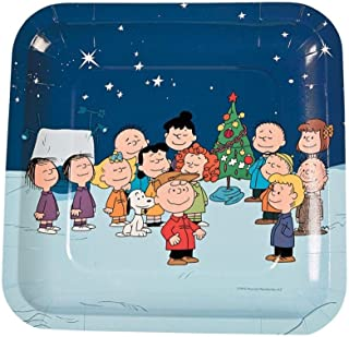 Peanuts Christmas Paper Plates Square Dinner Size 'Charlie Brown, Snoopy and the Gang'