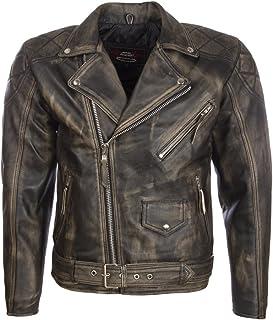 Aviatrix Men's Real Leather Vintage Look Belted Biker Jacket (CKQ1)