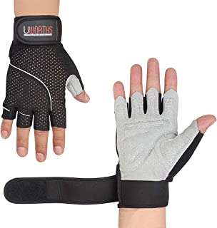 Weight Lifting Gloves Premium Full Grips Extra Protection Mens & Womens Ideal for Cycling, Gym Training Pull Ups & Home Use with Short Wraps Fingerless