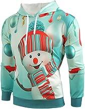 iLOOSKR Christmas Hoodie Sweatshirt Mens Plus Size Cartoon Snowman Print Sweatshirt Pocket Pullover Top