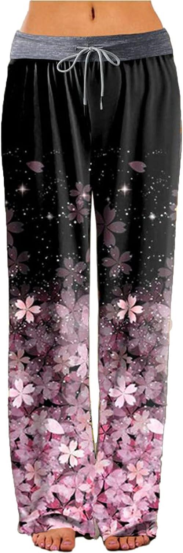 Womens Drawstring Lounge Pants Comfy Wide Leg Palazzo Sweatpants Fashion Casual Floral Print Yoga Pajama Trousers