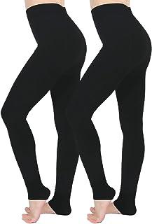 Leggins Termicos Mujer,Aiglam 2 Pares Las polainas de las mujeres Elásticos Cintura Alta Forrado de Terciopelo Grueso Cali...