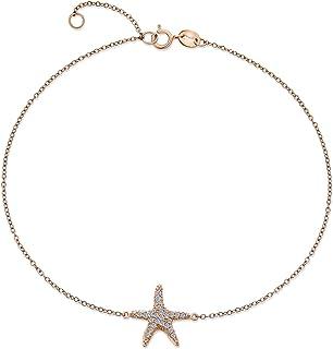 Nautical Starfish Pave C'è Marine Life Anklet Bracciale Caviglia Per Donne Teen Rose Oro Placcato 925 Sterling Argento 9-1...