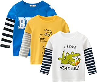 amropi Baby Boys Striped T-Shirt 3 Pack Long Sleeve Cotton Top Crew Neck Tee Shirts for 1-8 Years