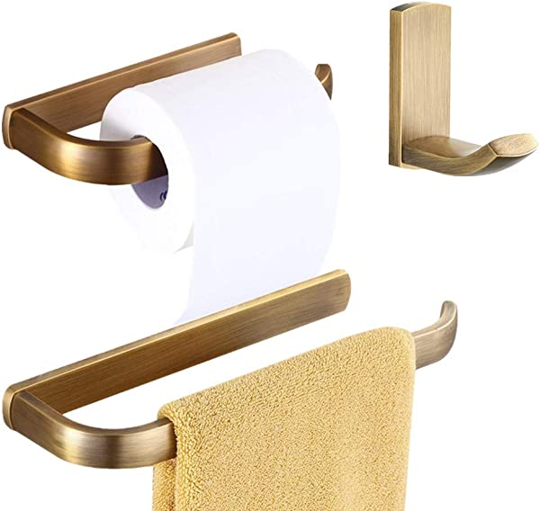 WINCASE Antique Bathroom Accessory Sets 3 Pieces Robe Hook Toilet Paper Holder Towel Ring Brass Wall Mounted Vintage Retro Style For Toilets