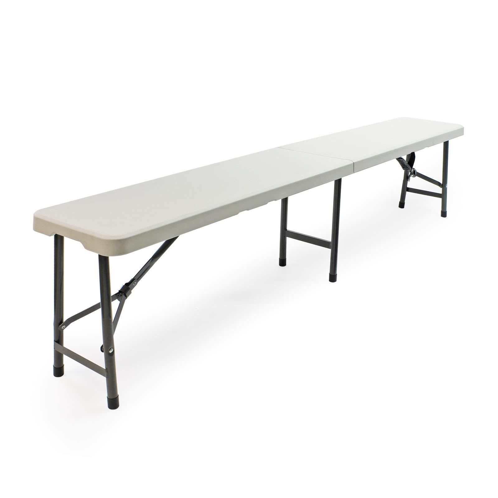 Panca panchina panchetta 183X30H44CM pieghevole in dura resina di plastica bianca con 3 gambe in ferro e metallo richiudibile per tavolo