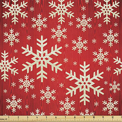 Lunarable Snowflake Fabric by The Yard, Christmas Winter Illustration Abstract Wooden Pattern Background, Decorative Fabric for Upholstery and Home Accents, 1 Yard, Vermilion Cream