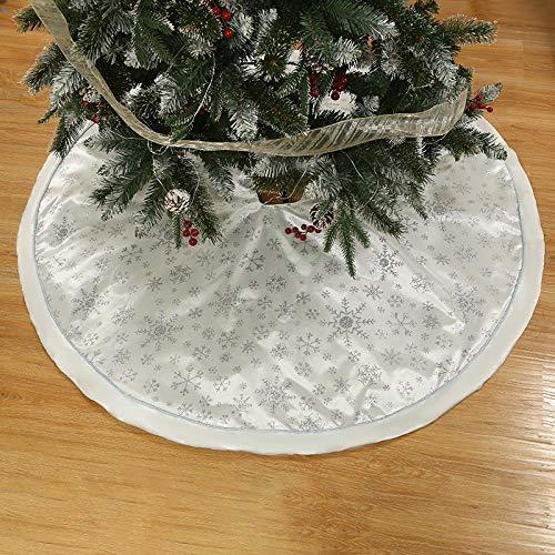 DERNISH(Lieferzeit 6-9 Tage) Manta para árbol de Navidad, diseño de Reno Estampado, árbol de Navidad, Copos de Nieve, árbol de Navidad, Faldas, decoración navideña (Blanco, 120 cm)