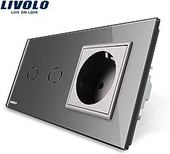 2 Steckdosen Kristallglas Schwarz LIVOLO 1x Wippe Wechselchalter 3 Fach Kombi
