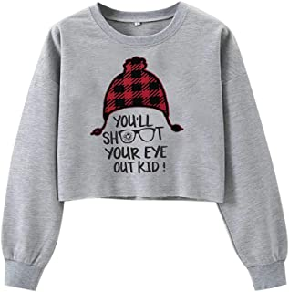 Jocome Women's Ugly Christmas Sweatshirt Casual Solid Color Letter Print Long Sweater Top S-XL