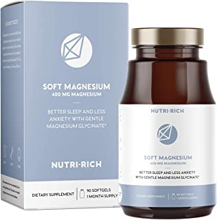 Magnesium Glycinate Chelate for Better Sleep | 400mg Softgels with MCT Oil, High Potency & Easy Absorption for Anxiety, Cramps, Restless Legs (90 Count)