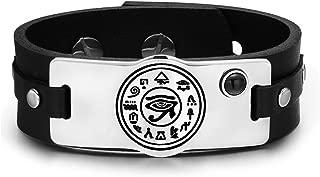 All Seeing and Feeling Eye of Horus Magical Amulet Black Simulated Onyx Adjustable Leather Bracelet