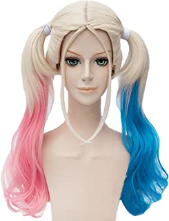 Angelaicos Womens Lolita Gradient Color Highlights Party Costume Hair Full Wigs (50cm Blonde Pink Blue)