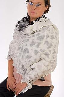 Scialle in feltro grande o echarpe per donna (feltro Nuno), realizzato con calda lana merino e seta naturale ideale per la...