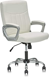 CLATINA Mid Back Leather Office Executive Chair with Lumbar Support and Padded Armrestes Swivel Adjustable Ergonomic Design for Home Computer Desk White 1 Pack