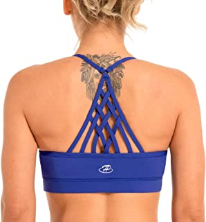 Hopgo Women's Sports Bra Low Impact Strappy Back Workout Bra Padded Yoga Bra Top