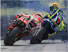 Ukerdo DIY Diamond Painting Kits Full Drill Motorcycle Racer Pictures for Home Wall Arts Décor
