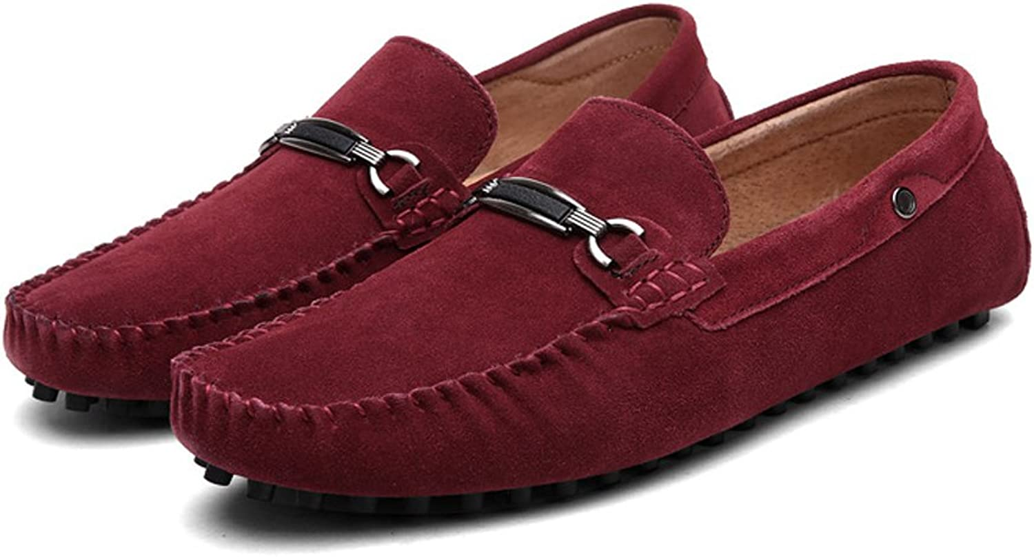 Men's Driving Penny Loafers Metal Decor Vamp Suede Genuine Leather Moccasins Studs Sole (color   Wine, Size   7.5 UK)
