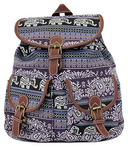 Leoodo Rucksack Damen ethno ethnische Daypacks schicke Schultertasche für Reisen Urlaub mit Elefanten Muster, Damen Tasche:Lila
