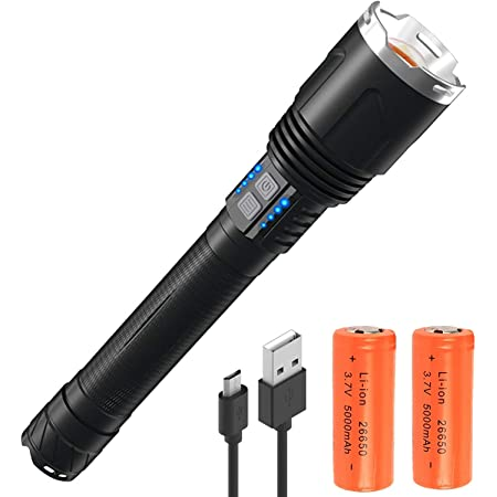 Ricaricabile Torcia Tattica LED 10000 Lumens XHP70 Super Luminosa 10000 Lumens Zoomabile 3 Modalit/à con Power Display Funzione per lescursionismo Camping Attivit/à allaperto