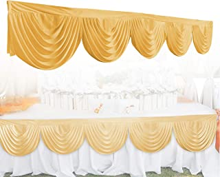 GEMITTO Wedding Backdrop Swag, Window Background Valance, Removable Ice Silk Window Decorative Curtain for Party Wedding Stage Home Decoration Event Designs (Golden)